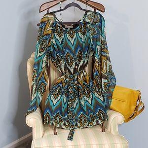 Umgee Boho Ikat pattern cold shoulder dress EUC L